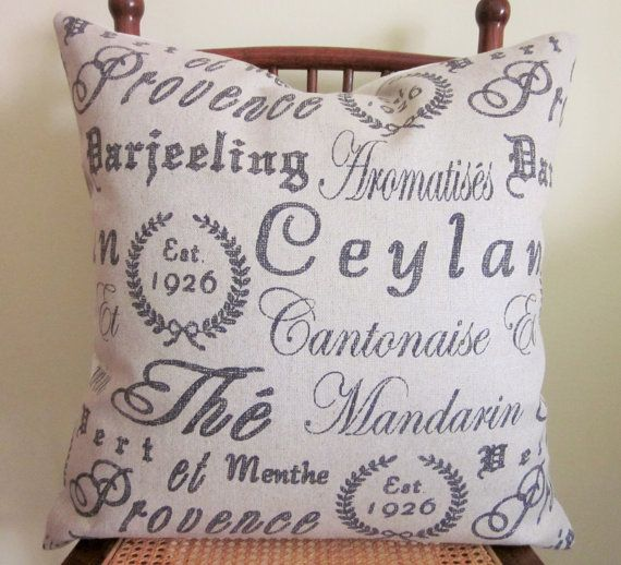 French Tea Script Pillow Cover Various Sizes The Fabric Is A