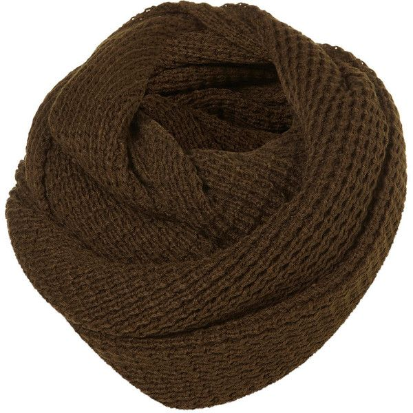 TOPSHOP Textured Grunge Snood (€27) ❤ liked on Polyvore featuring accessories, scarves, khaki, snood scarves, acrylic scarves and topshop scarves