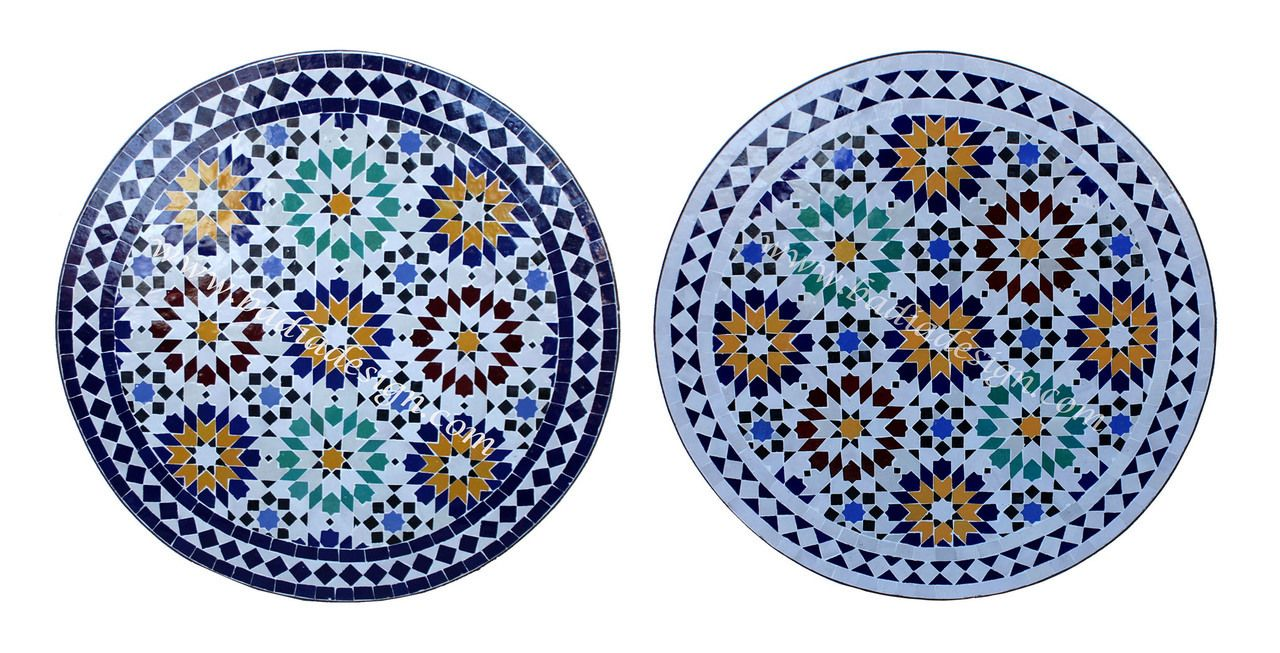 24 Inch Round Moroccan Tile Table Mtr235 Http Www Badiadesign