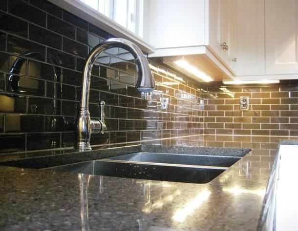 brown glass tile backsplash