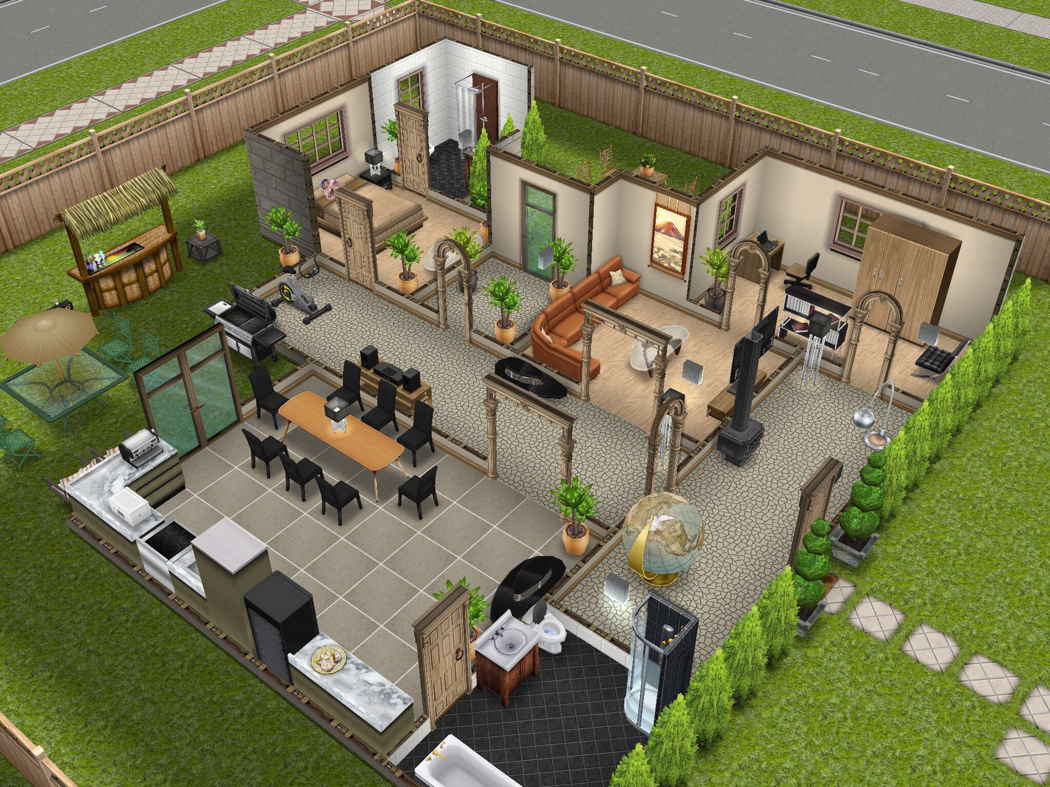 Feeling beige thesims simsfreeplay housedesign for Sims house layouts