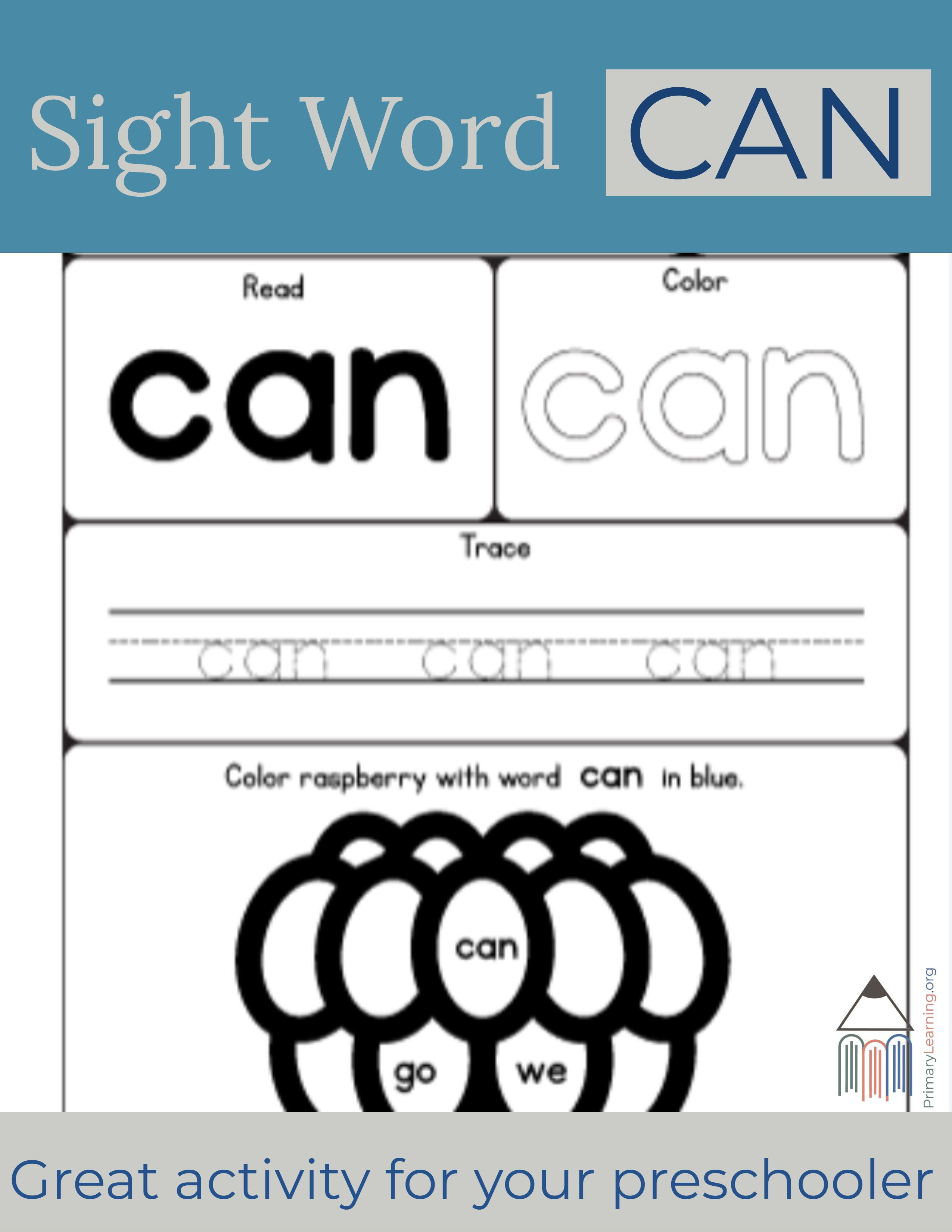 Sight Word Can Worksheet