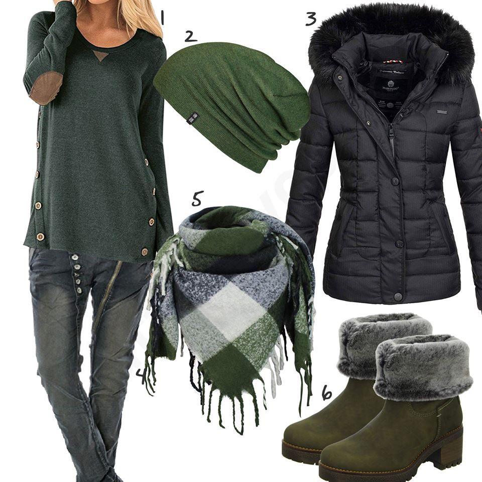 Schwarz Grünes Damenoutfit mit gefütterten Boots | Outfit