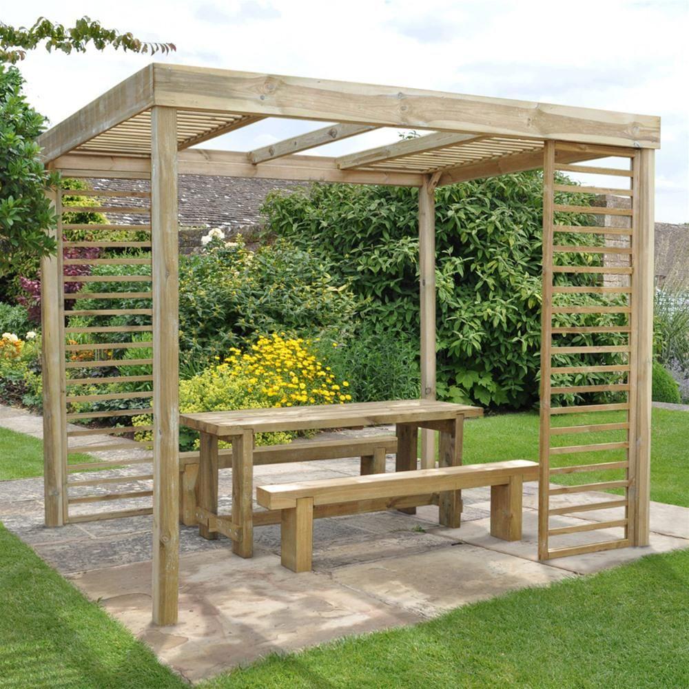 forest garden wooden dining pergola with panels pergolas gardens
