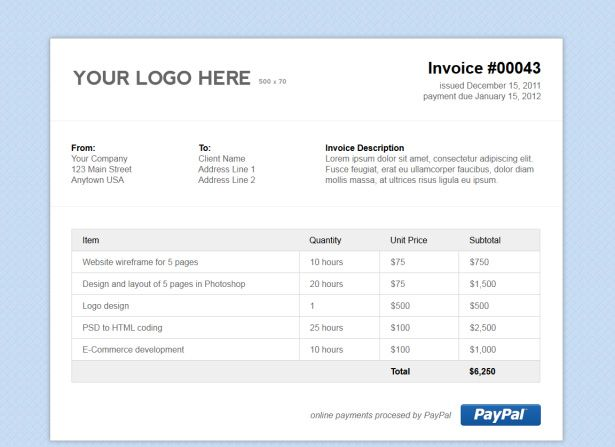 Simple HTML Invoice Template by vandelay on Creative Market - free invoice forms pdf