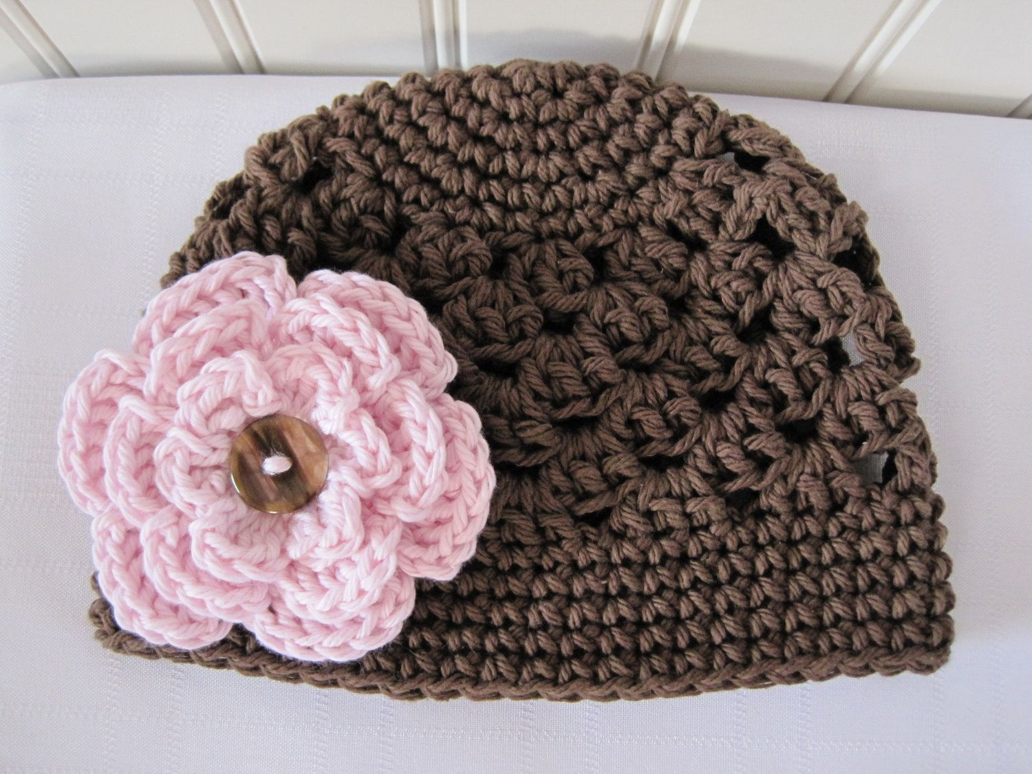 Cute & Kozy Crocheted Hat - Brown with Light Pink Flower - (Size 0-3 ...