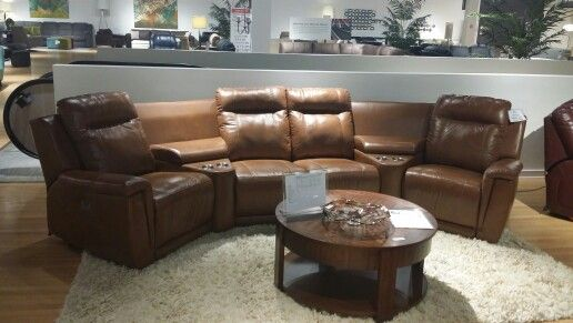 leather looks great on theatre seating riley sectional by palliser furniture - Palliser Furniture