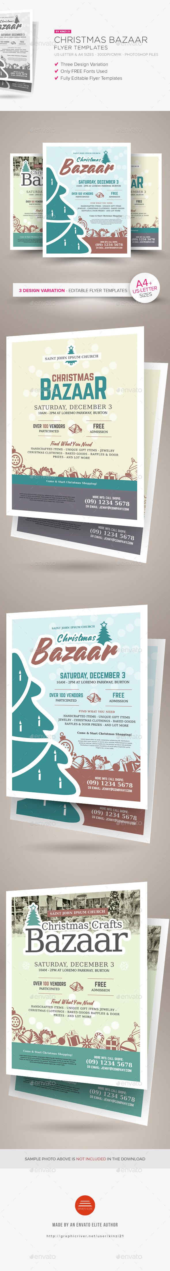 Christmas Bazaar Flyer Templates | Flyer template, Craft fairs and ...