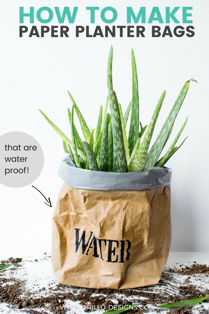 DIY Kraft Paper Planter Bag Tutorial Planters, Herb