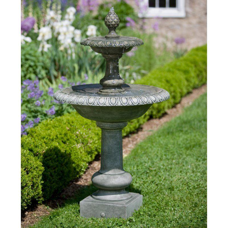 Campania International Williamsburg Pineapple 2 Tier Outdoor Fountain Garden Water Fountains Tiered Garden Outdoor Fountain