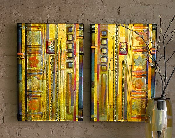 Amber Leaf Panels by Mark Ditzler (Art Glass Wall Art | Glass wall ...