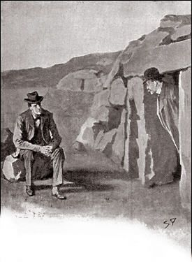 The Hound of the Baskervilles  Chapter XII Death on the Moor SIDNEY PAGET The Strand Magazine, February 1902 'THERE HE SAT UPON A STONE OUTSIDE.'