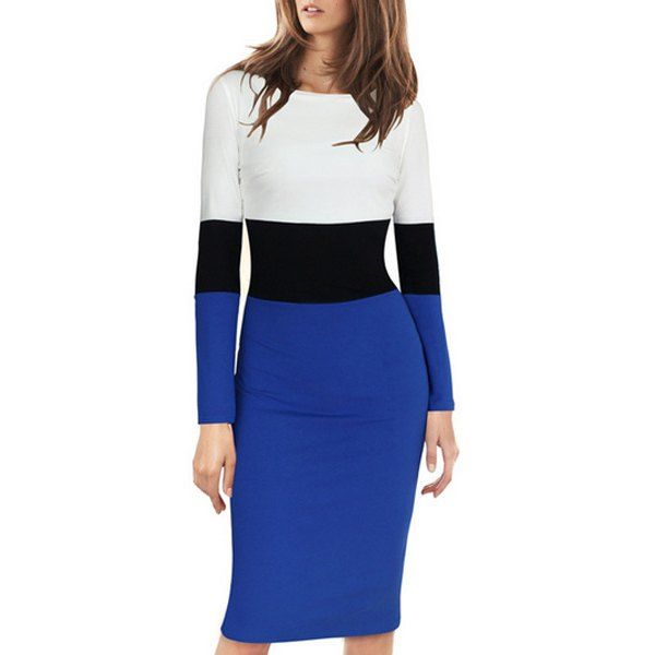 $12.79 Stylish Scoop Neck Long Sleeve Color Block Back Slit Dress For Women