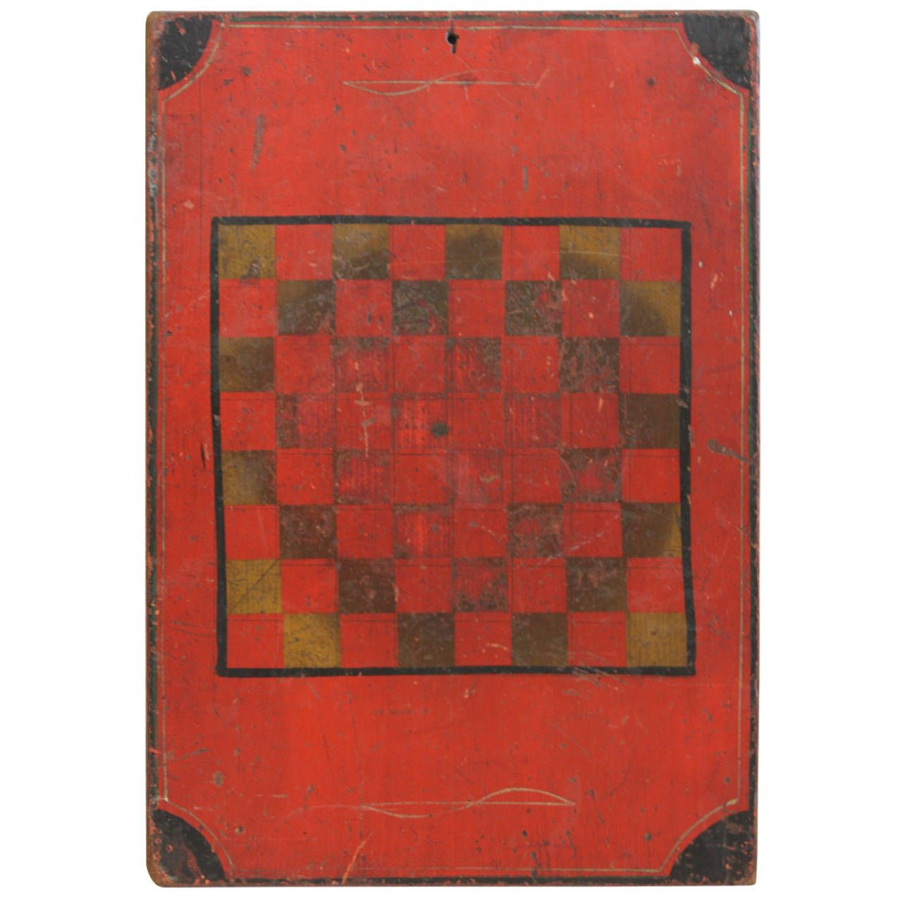 Antique American Folk Art Checker Game Board | From a unique collection of antique and modern game boards at https://www.1stdibs.com/furniture/folk-art/game-boards/