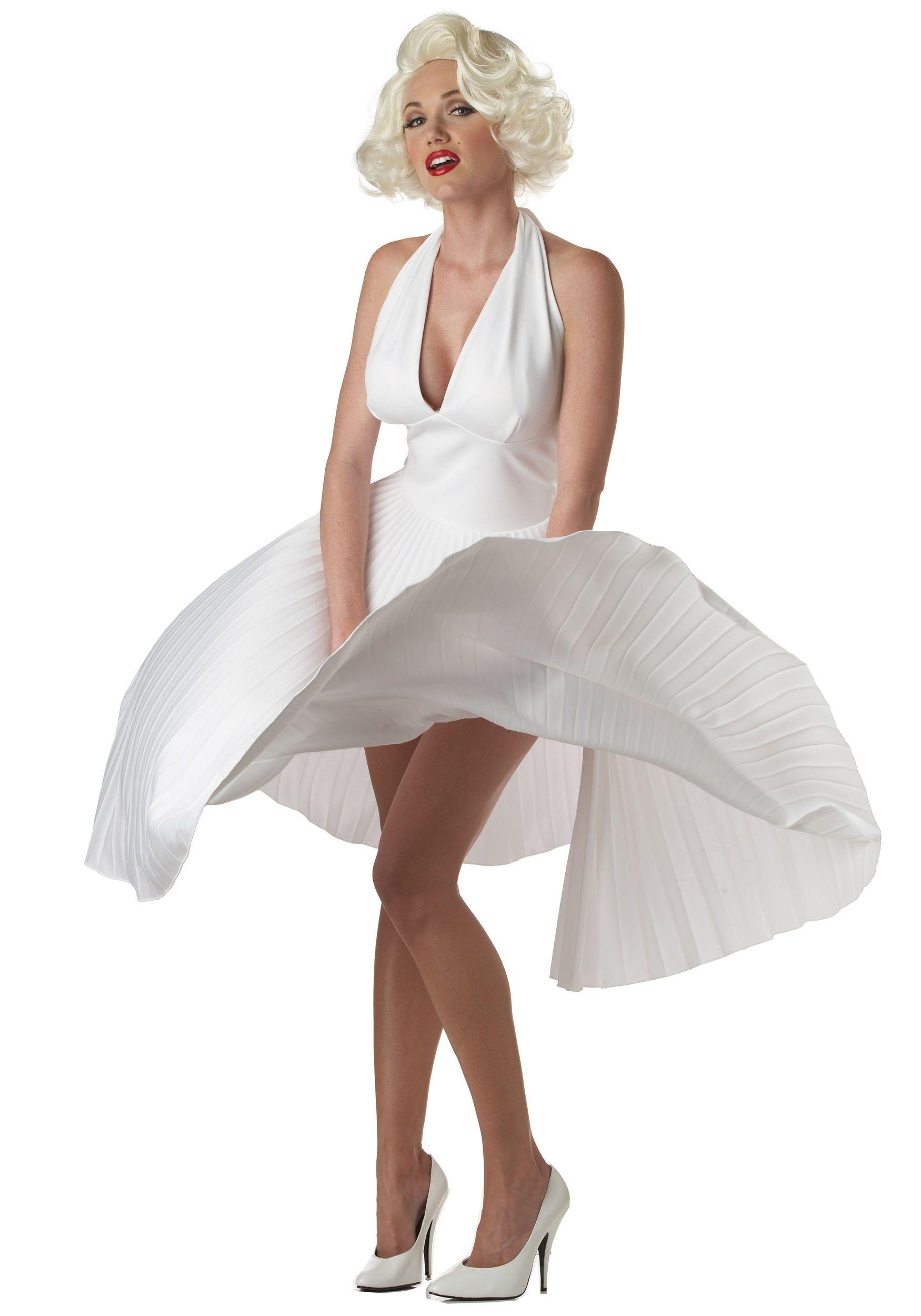Marilyn Monroe Deluxe White Halter Dress  125eef8ae1