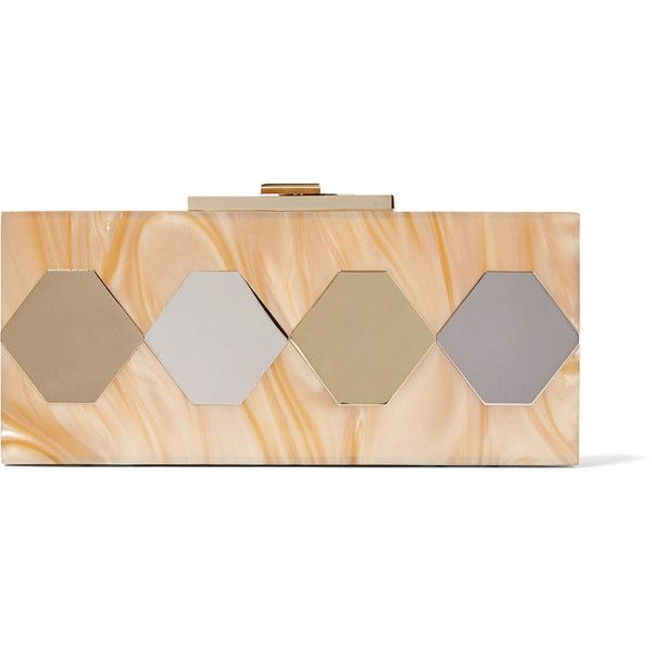 Halston Heritage - Mirrored Marble-effect Acrylic Clutch ($170) ❤ liked on Polyvore featuring bags, handbags, clutches, tan, colorful purses, lucite purse, chain strap purse, embellished handbags and sequin clutches