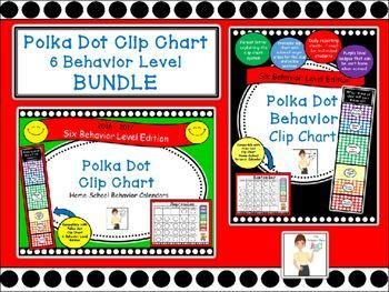 This Polka Dot Behavior Clip Chart and Calendars BUNDLE is a six behavior level edition created by The Primary Place for K-3. Includes:-A parent letter explaining the clip chart system. Just sign it and copy. -A printable clip chart with optional larger areas for the blue and yellow sections.