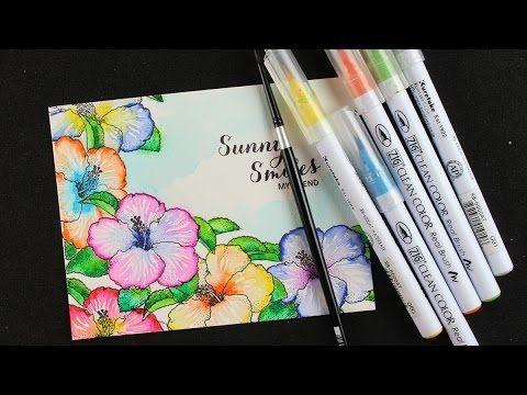 Watercolor Hibiscus Zig Clean Color Pens Pen Watercolor