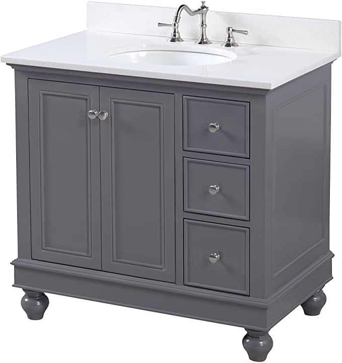Amazon Com Bella 36 Inch Bathroom Vanity Quartz Charcoal Gray Includes Charcoal Gray Cabinet With Stu 36 Inch Bathroom Vanity Bathroom Vanity Grey Cabinets 36 inch gray bathroom vanity