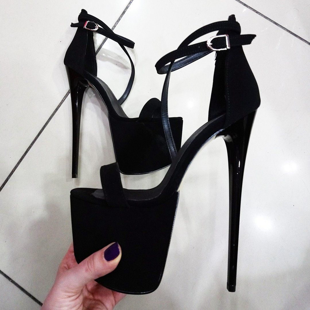 Black Suede Cross Ankle Strap High Heel Platform Shoes