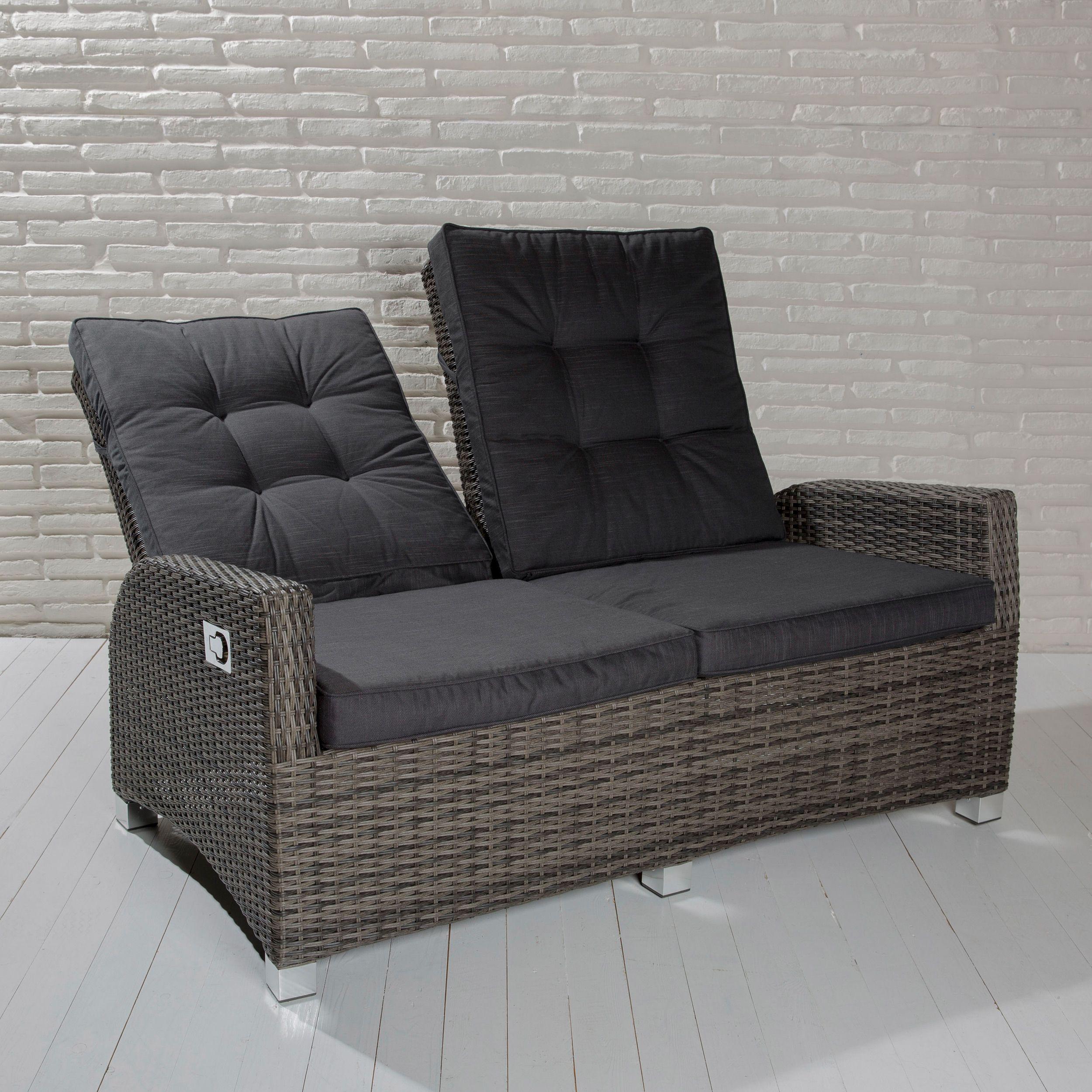 2er Sofa Aus Der Barcelona Living Serie Mit Verstellbarer Ruckenlehne Barcelona Gartenmobel Outdoormobel Gartensofa So 2er Sofa Lounge Garnitur Couch Grau