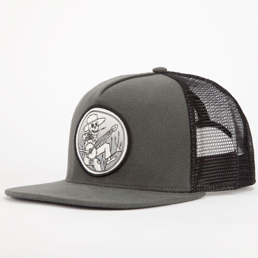 2838f4af314 Burton hobo trucker hat. Banjo playing skeleton patch sewn on front panel.  Mesh back. Adjustable snapback. Imported.