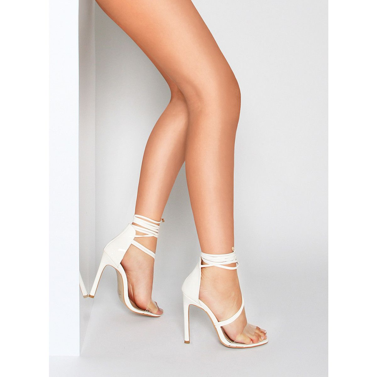 Kaira White Patent Clear Lace Up Heels : Simmi Shoes | MY SHOE ...