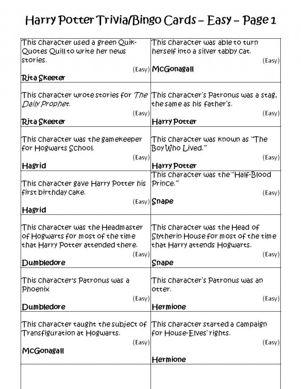 Harry Potter Trivia Bingo Game Cards Easy Page 1