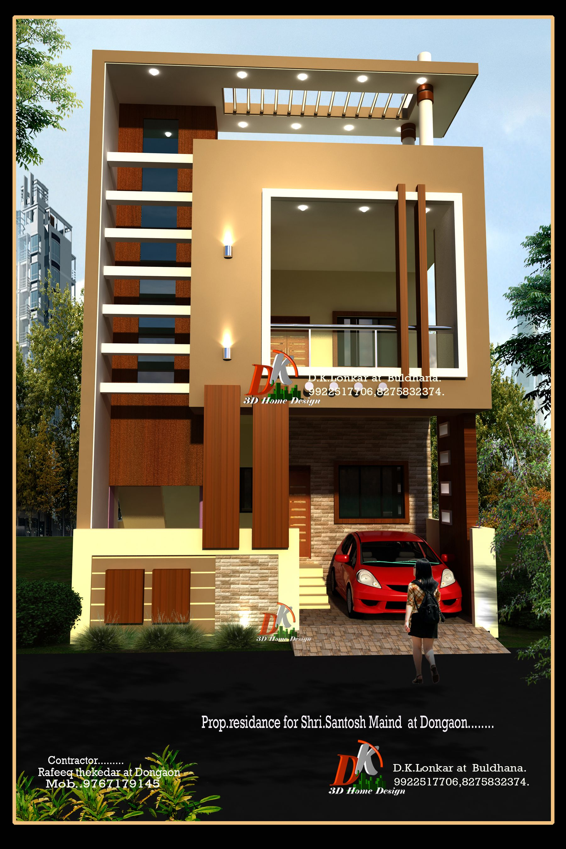House Front Design House Design Front Elevation Designs: Wooden Thoons In Place Of The Brown Pillars For A Modern Classic Mix Feel (With Images)