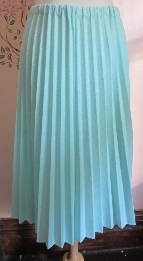 Mint Knit Accordion pleated Skirt by heydarlin on Etsy, $18.00