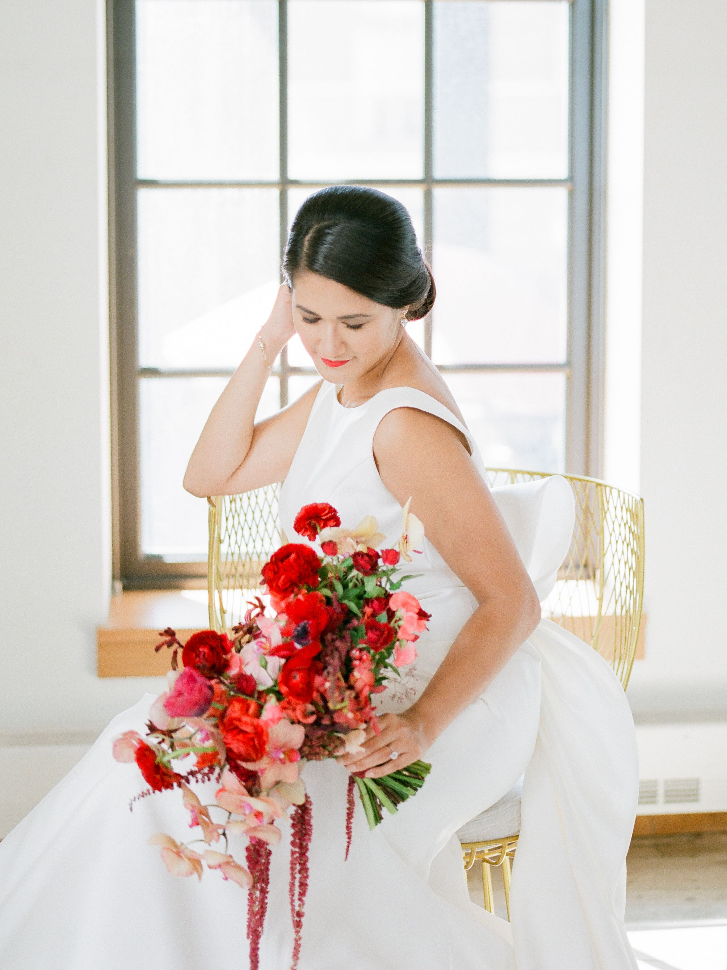 Modern West Edge Wedding Style Me Pretty Red And Gold Wedding