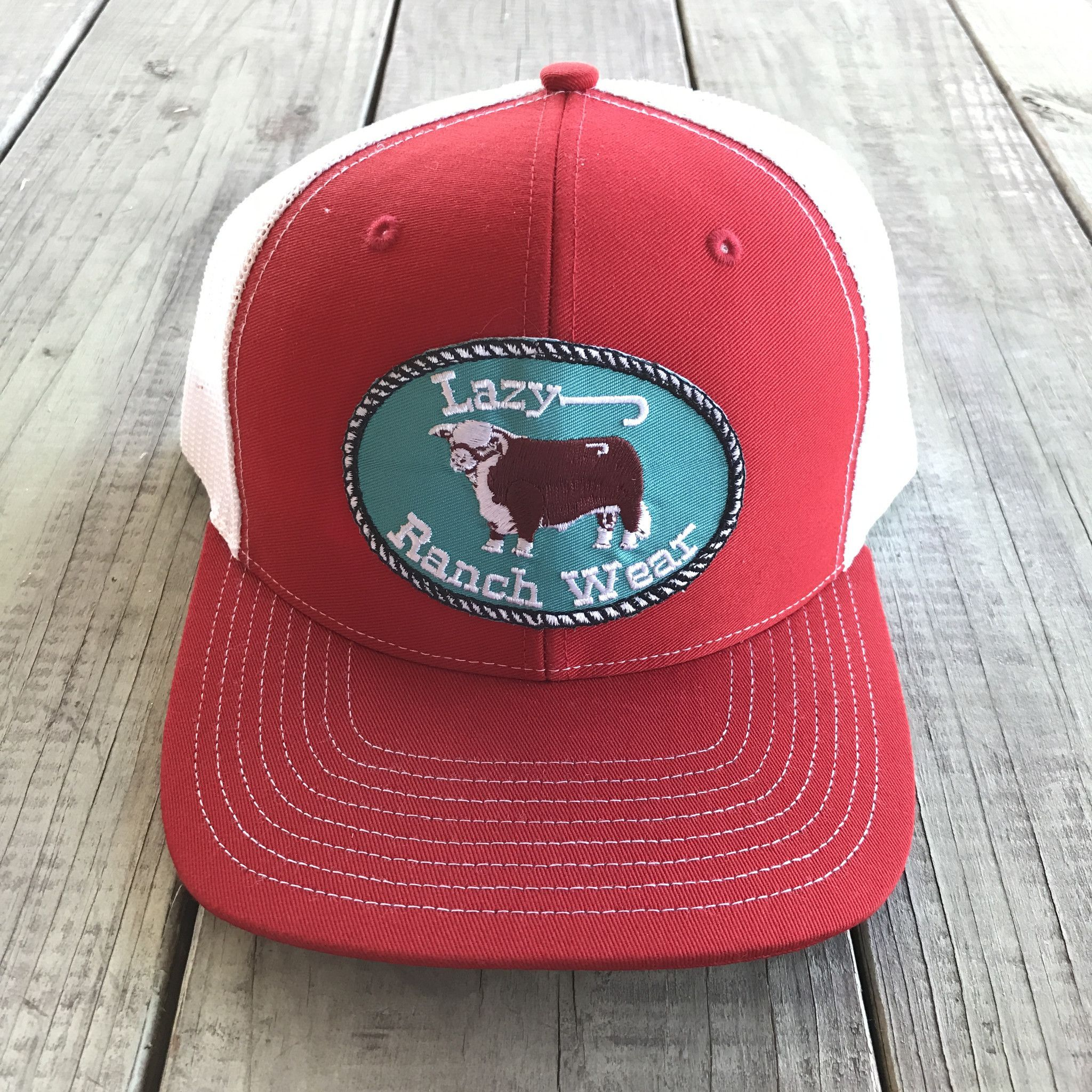 05607bf5066 Red and White Lazy J Ranch Wear Hereford Logo Cap ( 3.5