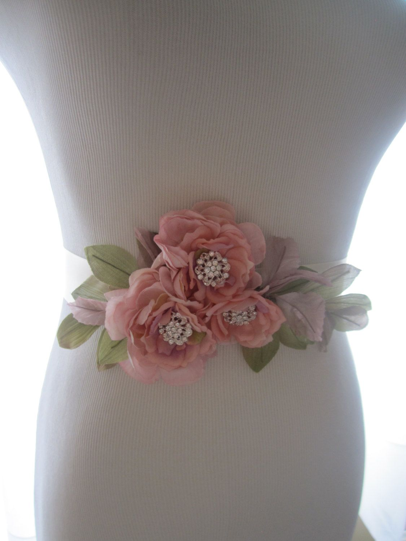 Burlap wedding dress sash  Woodland Rustic Pink Flower Rhinestone Bridal Wedding Belt Sash