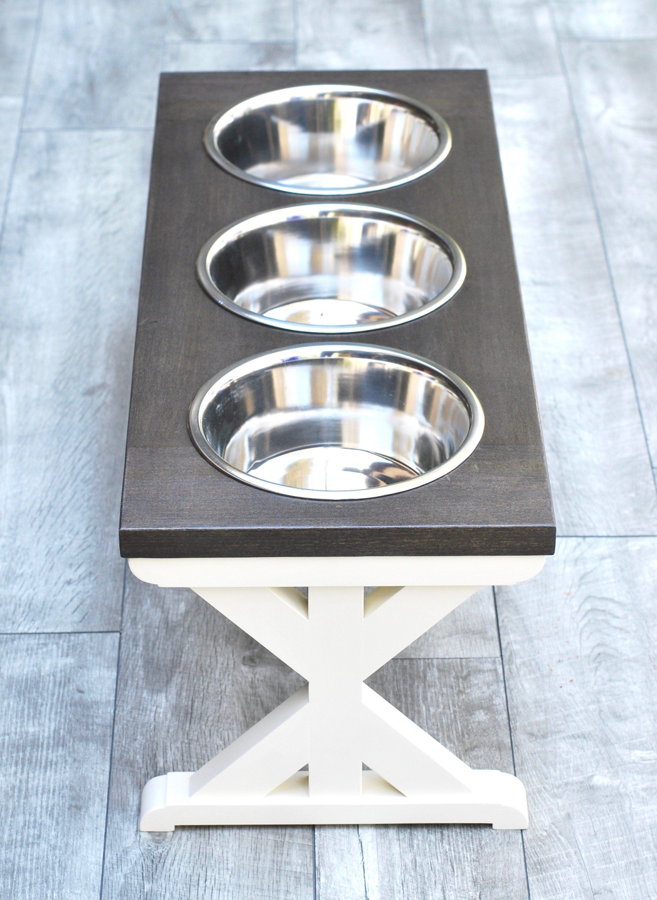 Photo of Large Elevated Dog Bowl Stand – Trestle Farmhouse Table Three Bowl Stand