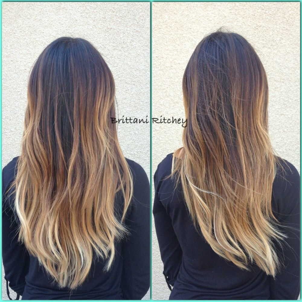 Dark brown with creamy blonde balayage highlights ombre  Hair