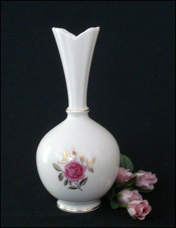 Vintage Lenox Vase Fine China With A Pink Rose And Golden Leaves
