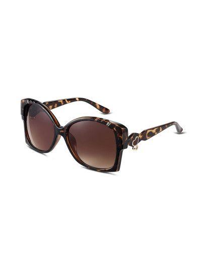 Gafas de sol marco estampado de leopardo geométrico-Sheinside