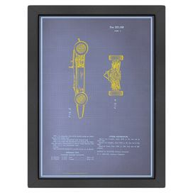 """Racing car blueprint.   Product: PrintConstruction Material: Matte paperColor: Black frameFeatures:  Digitally printed design110 Sustainable paperDimensions: Framed: 26.5"""" H x 20.5"""" WUnframed: 24"""" H x 18"""" WCleaning and Care: Keep out of direct sunlight"""