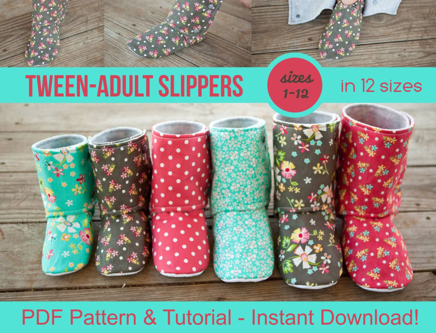 Tween Adult Slipper Pattern - pdf Sewing Pattern for Mens or Womens ...