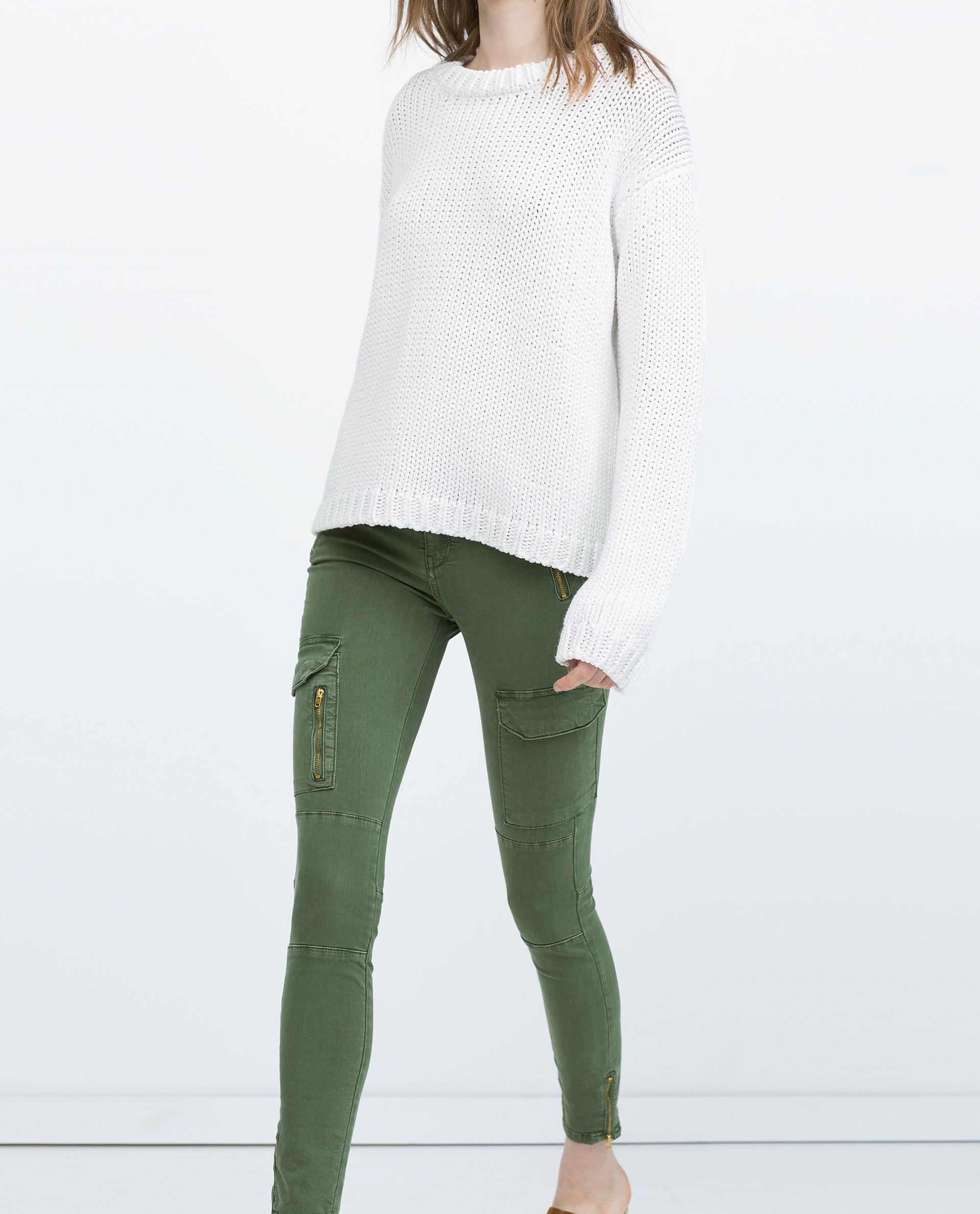 Zara Mujer Pantalon Pitillo Cargo Cremalleras Zara Mujer Pantalones Ropa Ropa Casual