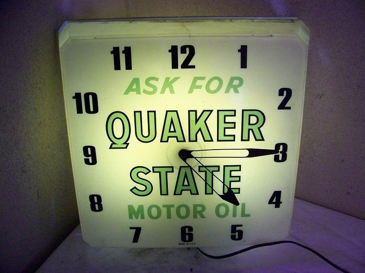 quaker state motor oil vintage clock antique advertising clocks pinterest vintage. Black Bedroom Furniture Sets. Home Design Ideas