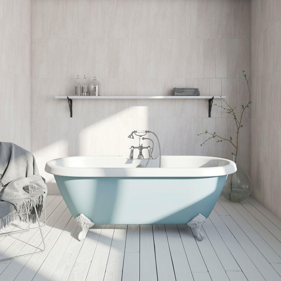 The Bath Co. Bluebell coloured bath with Hampshire shower bath mixer ...