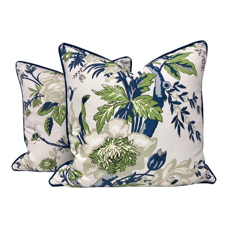 Thibaut Nemour Floral Pillow In Green Blue Designer Pillows Etsy In 2021 Floral Pillows Green Pillows Designer Pillow