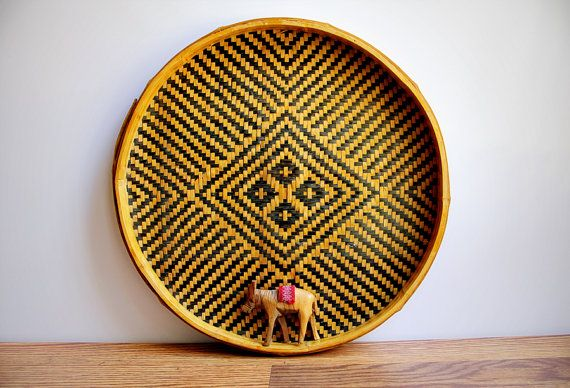 large vintage woven basket tray / wall hanging / round bamboo