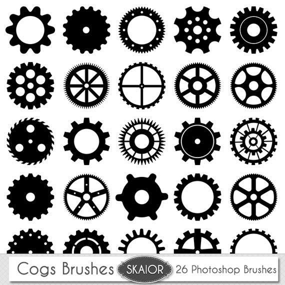 cog photoshop brushes gears