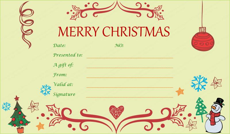 Printable Christmas Gift Certificate Template Salon Pinterest