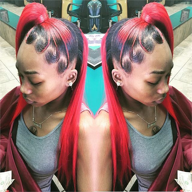 Red Black Half Up Ponytail Half Down Weave Ponytail