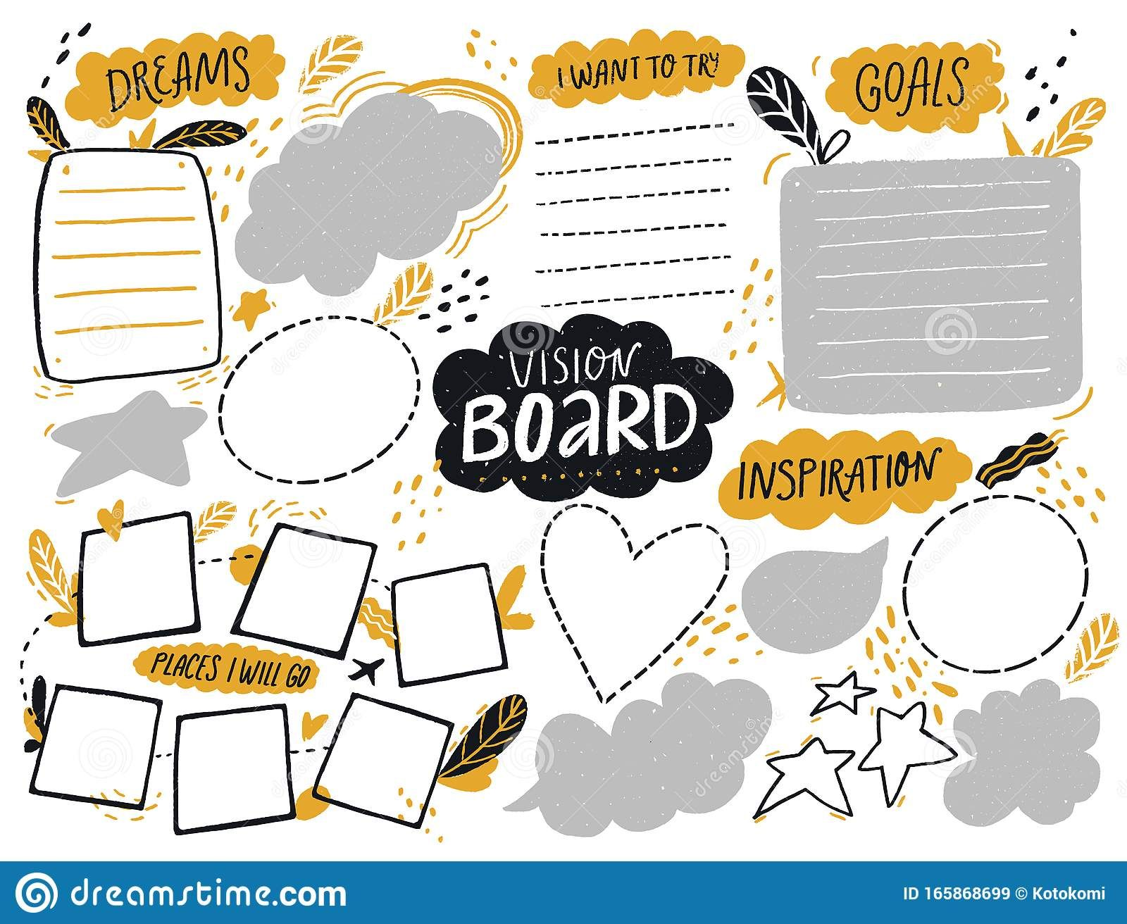 Vision Board Template With Space For Goals Dreams List Travel Plans And Inspiration Col Vision Board Template Vision Board Workshop Vision Board Inspiration