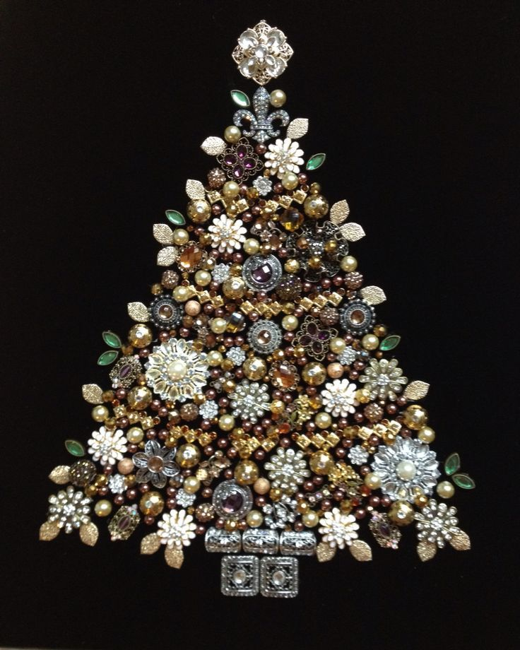 Jewel Christmas Tree Decorations: Christmas Decorations Using Old Jewellery
