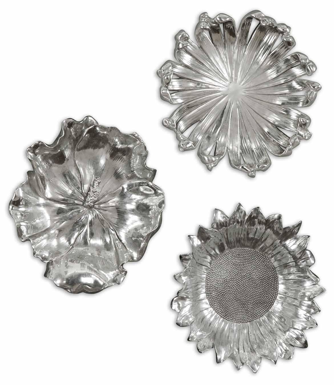Alternative Wall Decor Silver Flowers Set of 3 by
